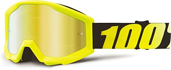 100% Strata børne cross brille Neon Ylw - Mr. Gold Lens