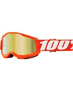 100% Strata 2 Jr Youth børne cross brille Orange med Guld spejl glas