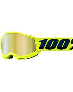 100% Accuri Junior Cross briller  Neongul med Guld spejl