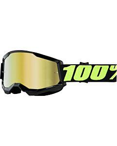 100%  Strata 2 Cross Briller Sort/ Neogul med Guld spejl