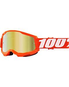 100% Strata 2 Cross Briller Orange med Guld Spejl