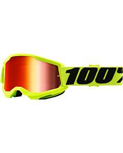 100% Strata børne cross brille Neon gul - Spejl linse