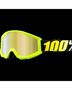 100% Strata Neon Gul Cross Brille med Guld Spejl glas
